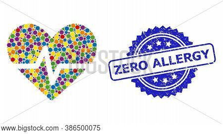 Vibrant Mosaic Heart Pulse, And Zero Allergy Textured Rosette Seal Imitation. Blue Seal Contains Zer