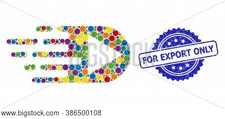 Colorful Mosaic Play Function, And For Export Only Unclean Rosette Seal. Blue Seal Contains For Expo