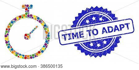 Vibrant Collage Time Tracker, And Time To Adapt Rubber Rosette Stamp Seal. Blue Stamp Seal Contains