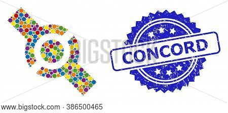 Bright Colored Mosaic Connector, And Concord Textured Rosette Stamp Seal. Blue Stamp Seal Includes C