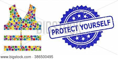 Colored Collage Safety Vest, And Protect Yourself Dirty Rosette Stamp. Blue Stamp Includes Protect Y