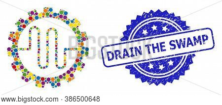 Bright Colored Collage Pipe Service Cog, And Drain The Swamp Corroded Rosette Stamp Seal. Blue Stamp