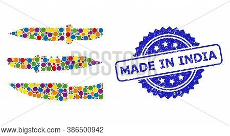 Bright Colored Collage Knives, And Made In India Grunge Rosette Stamp Seal. Blue Stamp Seal Has Made