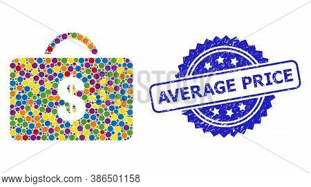 Vibrant Collage Business Case, And Average Price Scratched Rosette Stamp Seal. Blue Stamp Includes A