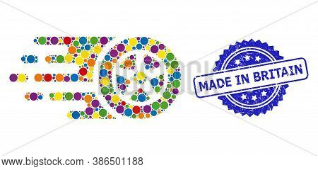 Vibrant Mosaic Car Wheel, And Made In Britain Rubber Rosette Seal. Blue Stamp Seal Has Made In Brita
