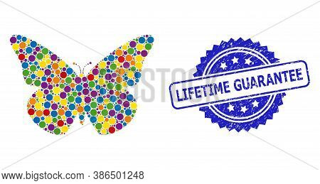 Colorful Mosaic Butterfly, And Lifetime Guarantee Dirty Rosette Stamp Seal. Blue Stamp Includes Life