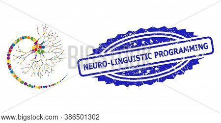 Vibrant Mosaic Neuron, And Neuro-linguistic Programming Grunge Rosette Stamp. Blue Stamp Seal Includ