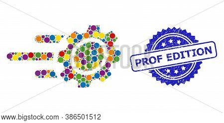 Multicolored Collage Rush Gear, And Prof Edition Corroded Rosette Stamp. Blue Stamp Has Prof Edition