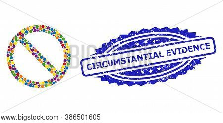 Bright Colored Collage Forbidden, And Circumstantial Evidence Unclean Rosette Stamp Seal. Blue Stamp