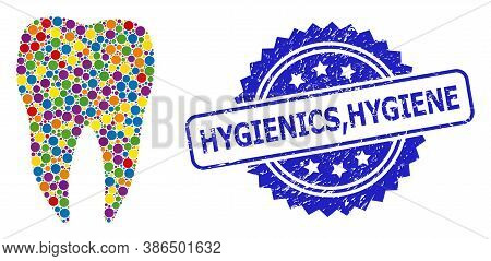 Colored Mosaic Dental Tooth, And Hygienics, Hygiene Dirty Rosette Stamp Seal. Blue Stamp Seal Includ