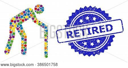 Colorful Mosaic Retired Person, And Retired Dirty Rosette Stamp Seal. Blue Stamp Seal Includes Retir