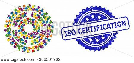 Colored Collage Clock Wheel, And Iso Certification Rubber Rosette Stamp. Blue Stamp Seal Has Iso Cer