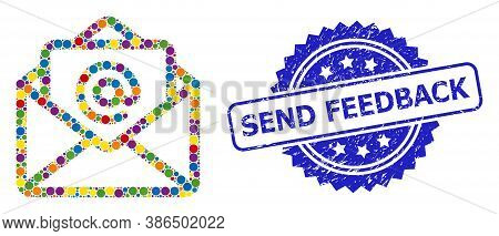 Vibrant Mosaic Open Email, And Send Feedback Corroded Rosette Stamp Seal. Blue Stamp Seal Includes S