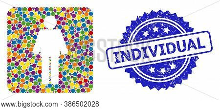 Colorful Collage Man, And Individual Grunge Rosette Stamp Seal. Blue Stamp Seal Has Individual Text