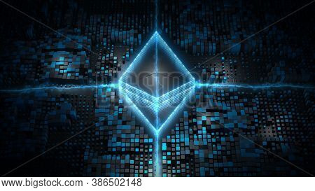 Blockchain Crypto Currency With Ethereum Currency Sign In Digital Cyberspace. Digital Encryption Net