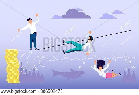 Concept Of Business Risk And Success, Danger Of Risky Decisions. Businessman Ropewalker Standing And