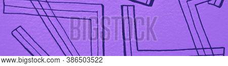 Mauve Handmade Lines. Violet Grunge Pattern. Bohemian Ethnic. Elegant Artistic Lineal Background. In
