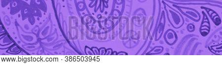 Baroque Ornament. Violet Ethnic Pattern. Violet Rustic Wallpaper. Ornament Victorian. Blue Geo Ethni