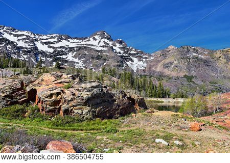 Lake Blanche Forest And Mountain Landscape Views From Trail. Wasatch Front Rocky Mountains, Twin Pea
