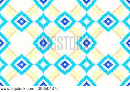 Turkish Pattern. Abstract Bohemian Wallpaper. Arabic Ethnic Background. Blue And White Colors. Hand