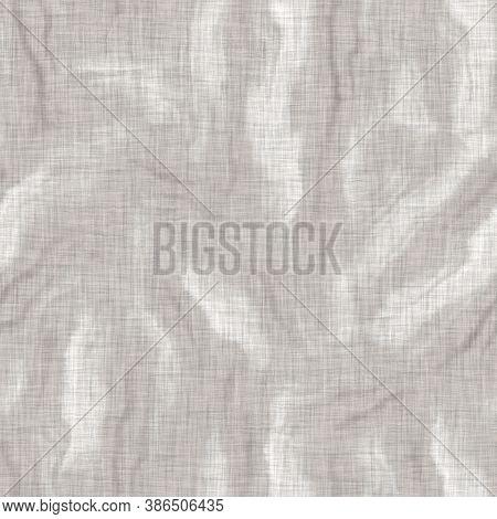 Seamless Gray French Woven Linen Wave Stripe Background. Ecru Flax Hemp Fiber Natural Pattern. Organ