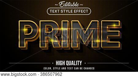Editable Text Style Effect - Prime Theme Style. Graphic Design Element.
