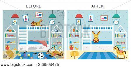 Childrens Bedroom Before And After Cleaning, Flat Cartoon Vector Illustration.