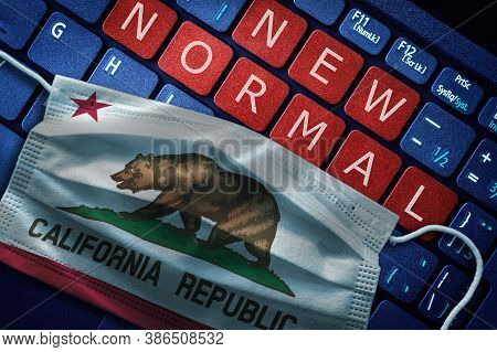 Covid-19 Coronavirus New Normal Concept In The Us State Of California As Shown By Californian Flag O