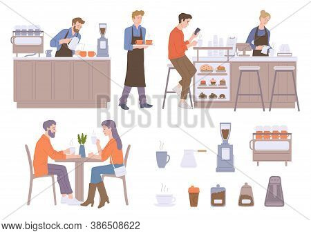 Coffee Shop Set With Visitors And Barista Flat Vector Illustration Isolated.