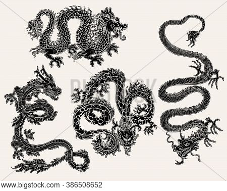 Set Of Chinese Dragon Images In Black Engraved Vector Illustration Isolated.