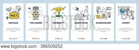 Business Partner, Leader, Competitor, Shareholder, Expert, Bankrupt. Mobile App Screens, Vector Webs