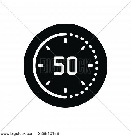 Black Solid Icon For Minute Clock Time Timer Hour Circle Deadline Interface Second  Chronometer Accu