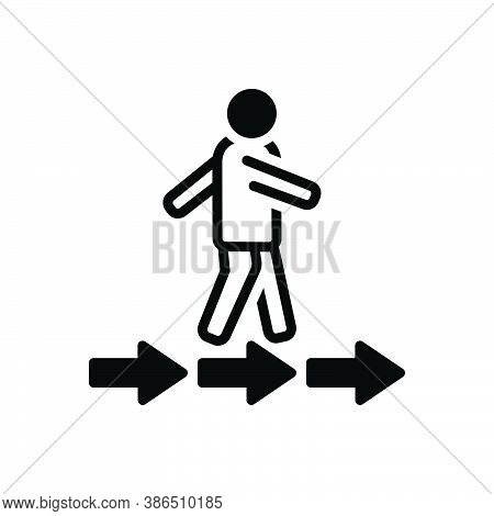 Black Solid Icon For Pursue Move Go-after Run Walk Arrow Ensue Chase