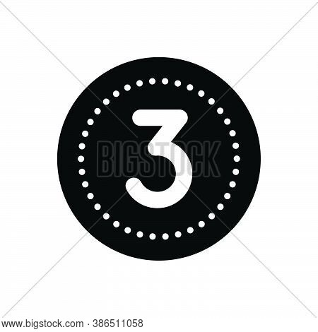Black Solid Icon For Three Digit Mathematical Calculated Numerical Number Letter Count Date