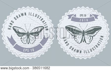 Monochrome Labels Design With Illustration Of Common Green Birdwing, Wallace S Golden Birdwing Stock