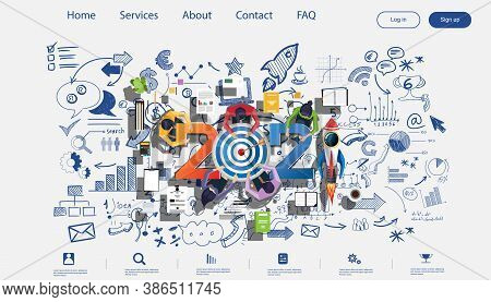 Creative Business Thinking 2021,darts Shoot Into Crotch For Success,set Icon, Plan  Think Analyze Cr