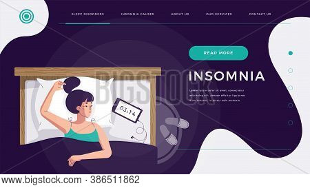 Insomnia Landing Page. Sleepless Young Woman Suffering From Sleep Disorder, Trying To Fall Asleep. B