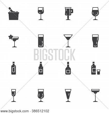 Cocktail Bar Menu Vector Icons Set, Modern Solid Symbol Collection, Filled Style Pictogram Pack. Sig