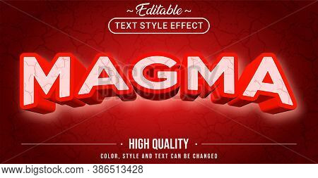 Editable Text Style Effect - Magma Theme Style. Graphic Design Element.