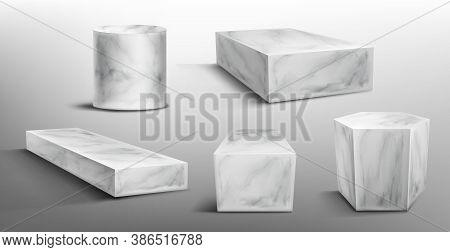 Marble Pedestals Or Podium, Abstract Geometric Empty Museum Stages, Stone Exhibit Displays For Award