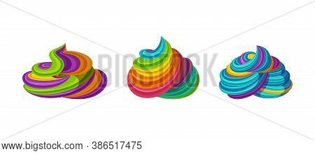 Swirled Rainbow Icing. Tasty Cream For Tarts And Cupcakes. Vector Illustration In Cute Cartoon Style