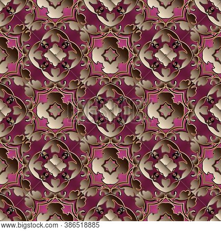 Baroque Vector Seamless Pattern. Vintage Luxury Background. Ornamental Patterned Antique Design. Dam