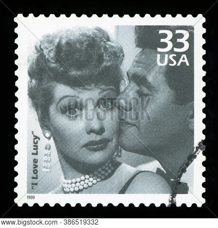 United States - Circa 1999: A Postage Stamp Printed In Usa Showing An Image Of Tv Comedy I Love Lucy
