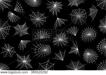 Spider Web Icons Set Of Various Shapes. Halloween Decoration With Cobweb. Spiderweb Flat Vector Illu