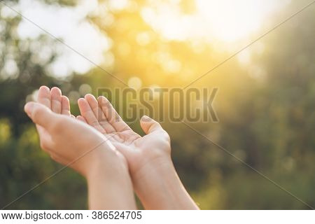 Woman Open Hand Up To Sunset Sky And Green Blur Leaf Bokeh Sun Light Abstract Background. Vintage To