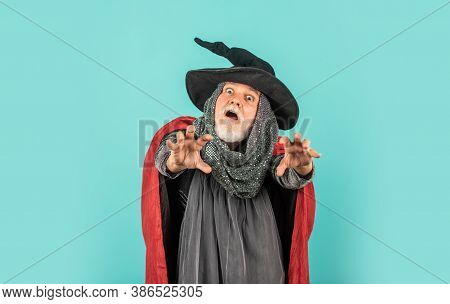 Scary Zombie Man. Gothic Man In Halloween Costume. Magic Concept. Experienced And Wise. Wizard Costu