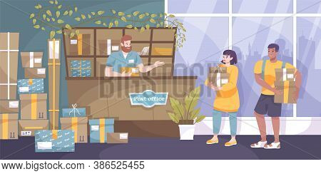 Mail Parcel Flat Composition With Indoor View Of Post Office With Senders And Employee At Counter Ve