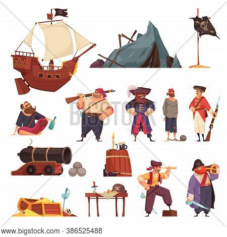 Pirate Set With Isolated Icons Of Ship Wreck And Weapons With Doodle Style Characters Of Pirates Vec