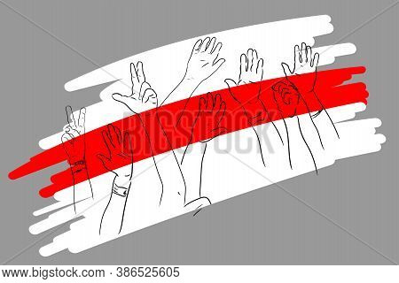 Hands And Flag.