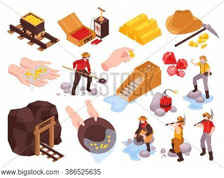 Isometric Gold Mining Rush Set With Isolated Mine Images Gold Bars Explosives And Characters Of Mine
